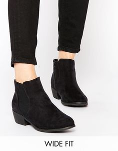 Image 1 of New Look Wide Fit Flat Ankle Boots