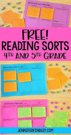 Free reading sorts for grades with idea for implementation! These make perfe… Free reading sorts for grades with idea for implementation! These make perfect reading centers, stations, and independent practice reading activiites. 4th Grade Ela, Teaching 5th Grade, 6th Grade Reading, 5th Grade Classroom, Reading Street 4th Grade, 5th Grade Centers, Reading School, 5th Grade Writing, Future Classroom