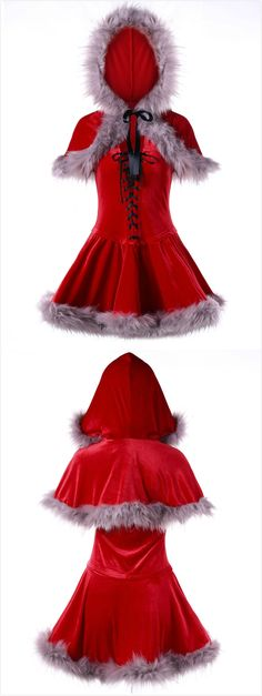 Ugly Christmas Faux Fur Panel Velvet Cape Dress$23.77,sammydress,sammydress.com