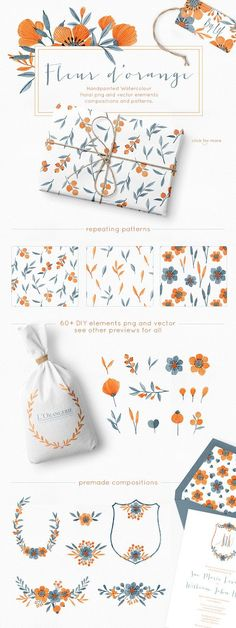 Floral Watercolor Graphics Bundle - Illustrations - watercolour clipart - blue and orange - elegant frames. crests, wreaths - By Lef Design - ad Watercolor Pattern, Watercolor Flowers, Drawing Flowers, Watercolor Scenery, Watercolor Face, Watercolor Design, Watercolor Wedding, Flower Patterns, Flower Designs
