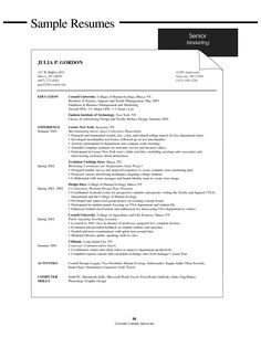 cornell sample resume college resume objective examples resume template for applying - College Grad Resume Examples