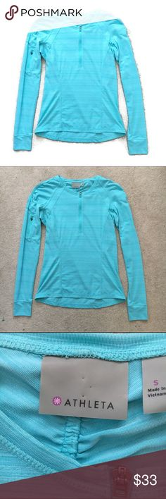 ATHLETA quarter zip shirt pullover 14 inch bust and 23 inch length. Super cute athletic shirt! Perfect condition Athleta Tops Tees - Long Sleeve