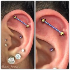 """Cool floating #industrial #piercing I did this week on @_mhdz with components from @industrialstrength all anodized in house to """"golden yellow"""" and """"deep purple"""" to keep with her theme. #piercings #justapiercer #fanshawe #fanshawecollege #uwo..."""