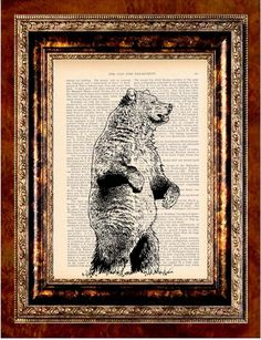 BEAR Vintage Art Print Antique 1800's Book Page or by newdayprints
