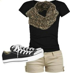 black tee, khaki shorts, leopard scarf, converse shoes - Making casual look good Komplette Outfits, Outfits With Converse, Short Outfits, Casual Outfits, Fashion Outfits, Womens Fashion, Converse Shoes, Black Converse, Converse Fashion