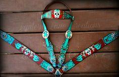 Custom Sugar skullz painted tack set by LanternLaneCreations, $500.00