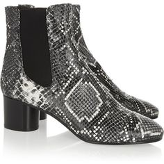 Isabel Marant Danae snake-effect leather ankle boots (€680) ❤ liked on Polyvore featuring shoes, boots, ankle booties, slip on boots, pull on leather boots, pull on boots, leather bootie and snake boots