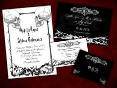 Two Souls Gothic Halloween Wedding Invitation, Save the Date, RSVP, and Thank You Digital File Kit
