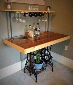 Sewing Machine Repurposed Sewing Table Bar by BillyGoatFurniture on Etsy - Antique Sewing Machine Table, Vintage Sewing Table, Antique Sewing Machines, Bar Furniture, Furniture Makeover, Singer Sewing Tables, Creation Deco, Wholesale Furniture, Sewing Rooms