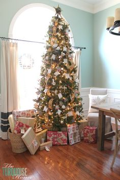 Rustic Glam Christmas Tree and Christmas Decorating in the Dining Room   TheTurquoiseHome.com