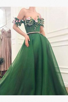 - - Details – Green color – Mesh/net fabric – Handmade embroidered flowers,velvet pink belt – Ball-gown style – Party dress Prom night dress Evening dress Source by Off Shoulder Evening Dress, Green Evening Dress, Long Evening Gowns, Green Dress, Long Green Prom Dress, Pink Dress, Prom Night Dress, A Line Prom Dresses, Dress Prom
