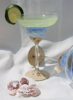 0eddf16ec59 Hand Painted Margarita Glasses - Beach and Sand (Set of 2)