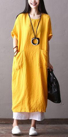 Fashion Cotton Linen Maxi Dresses Women Loose Clothes Q2062