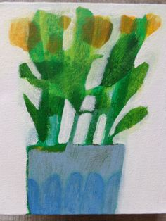 Original-Acrylic-Flower-Contemporary-Painting-box-canvas-panel-by-Imogen-Skelley
