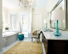 I love the lamps on the vanity... GREAT IDEA instead of traditional bathroom lighting.