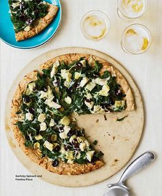 Garlicky Spinach and Fontina Pizza