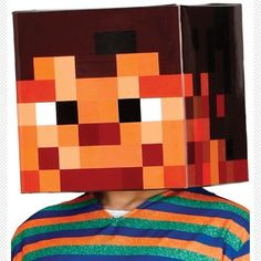 Girls Boys Kids Pixel Craft Head Gaming Cosplay Overhead Fancy Dress Outfit Mask in Clothing, Shoes, Accessories, Costumes, Unisex Costumes Accessoires Photo, Head Games, Video Game Cosplay, Fancy Dress Outfits, Minecraft Party, Kids Boys, Costumes, Creative, Crafts