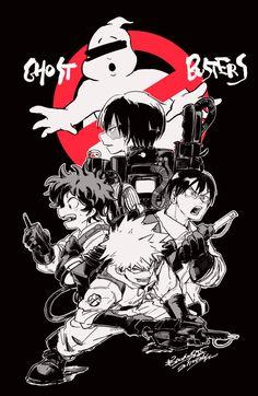 Boku no Hero Academia x Ghostbusters - Characters: Midoriya Izuku, Todoroki Shouto, Katsuki Bakugou, Tenya Iida.