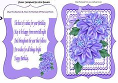 Pretty purple chrysanthemums on lace with bow bracket card on Craftsuprint - Add To Basket!