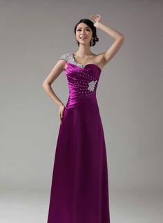 Purple&Red&Blue One Shoulder Long Evening Dress