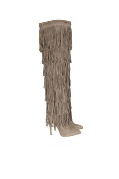 Brian Atwood over-the-knee fringed boots
