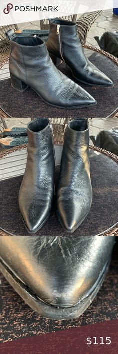 """Everlane the Boss boots Good condition, Everlane Boss Boots in a size 8. Made in Italy. Thick pebble leather. Side zipper. Pointy toe. Stacked chunky heel. Heel height is approximately 2"""". Per Everlane website a size 8 runs true to size. Some stuffing noted to heels, toes and back of left shoe, see pics. Quality boots though. Feel free to ask any questions. Everlane Shoes Heeled Boots Shoes Heels Boots, Heeled Boots, Everlane Shoes, Room Rugs, Stuffing, Chunky Heels, Pebbled Leather, Boss, Italy"""
