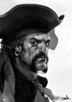 pirate sketch by borislav mitkov Exotique The World's Most Beautiful CG Characters Character Portraits, Character Art, Character Design, Male Portraits, Character Reference, Character Concept, Pirate Face, Fantasy Anime, Digital Portrait