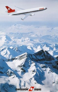 Swissair I really enjoyed my stint working on the program at McDonnell Douglas. Wish I had the chance to fly on one. Swiss Air, National Airlines, Birds In The Sky, Passenger Aircraft, Vintage Travel Posters, Vintage Airline, Air Photo, Civil Aviation, Poster S