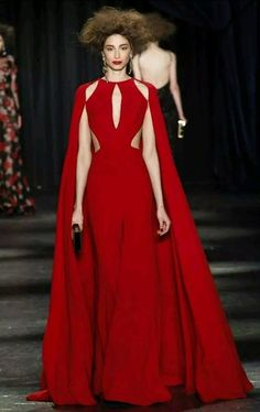 NAEEM KHAN RUNWAY SUPER SEXY CUT OUT GOWN WITH CAPE US4