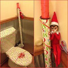 Ally wraps the toilet..  #elfonashelf Funny elf on a shelf Ideas