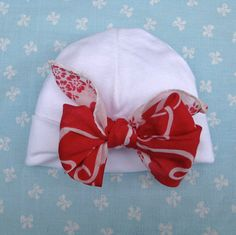Infant Hat Cap with Vintage Hankie Bow by JackieSpicer on Etsy