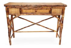 English Console Table, antiqued Tortoise, scorched bamboo 499