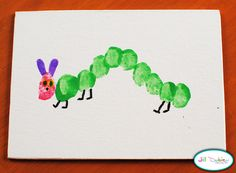 Very Hungry Caterpillar party: craft + party favor idea--kid thumbprints using acrylic/craft paints + details using a marker on mini canvases