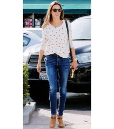 Must Haves for Spring: Skinny jeans and ankle boots. Alessandra Ambrosio Wearing Rag & Bone Harrow Booties.