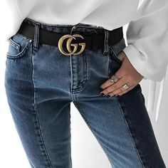 two tone jeans & black belt