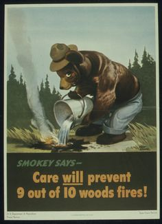 WWII, Smokey and a Little Bear, Wildfire Prevention National Forest Service Advertisement, vintage posters, fire prevention poster Vintage Ads, Vintage Advertisements, Vintage Posters, Vintage Signs, Us Forest Service, Smokey The Bears, Fire Prevention, Canvas Poster, Back To Nature