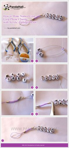 How to Make Named Cord Loop Phone Charms with Acrylic Alphabet Beads