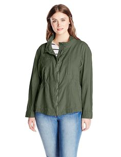 77d43eb979f Unionbay Women s Plus-Size Bryce Jacket Linen-blend jacket featuring zip-up  front and cinched waist Mismatched horizontal and vertical welt pockets at  chest