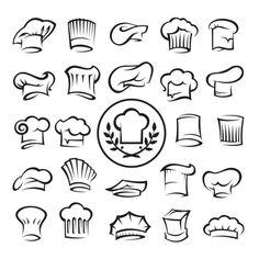 Set of chef hats. Monochrome set of twenty-five chef hats , Bakery Logo, Logo Restaurant, Hat Vector, Vector Free, Baking Tattoo, Culinary Tattoos, Chef Tattoo, Chef Logo, Web Design