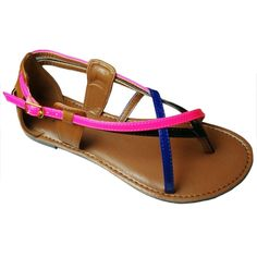 Qupid Women's Athena-549A Closed Back Colorblock Strappy Thong Flat Sandal *** Be sure to check out this awesome product.