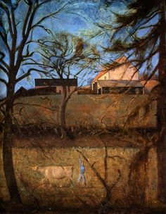 Balthus, 1959, Large landscape with a cow