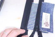コインキーケースの作り方[型紙無料ダウロード] | ひらめき工作室 Kraft Bag, Jean Crafts, Blue Jeans, Sewing, Bags, Diy And Crafts, Objects, Handbags, Dressmaking