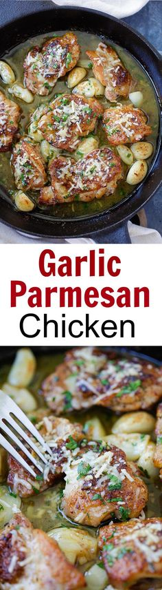 Garlic Parmesan Chicken Buttery Garlic Parmesan Chicken – amazing skillet chicken with garlic and Parmesan cheese. Made with simple ingredients but SO good! Turkey Recipes, New Recipes, Cooking Recipes, Favorite Recipes, Recipies, Easy Delicious Recipes, Yummy Food, Healthy Recipes, Tasty