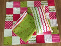 Doll quilt , pillow and sheet set by TheAngoraBunny on Etsy https://www.etsy.com/au/listing/537496947/doll-quilt-pillow-and-sheet-set