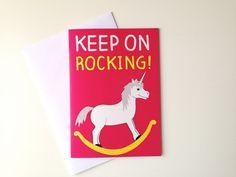 Unicorn Birthday Card, pink rocking horse card by helloDODOshop via Etsy