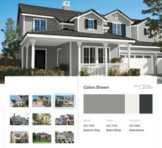 Traditional exterior paint palette with light & dark neutral grays colors from Sherwin-Williams.