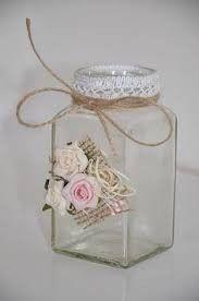 Make me: any jar w burlap glued on & silk flowers ! Tin Can Crafts, Diy Home Crafts, Jar Crafts, Crafts To Make, Mason Jar Gifts, Mason Jar Diy, Wine Bottle Crafts, Bottle Art, Bottles And Jars