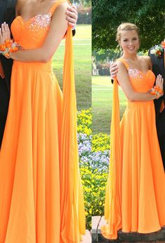 2016 Charming Long Chiffon Orange Prom Dresses Sweetheart Neck Floor Length Crystals Women Dresses