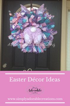 This Easter Wreath is full and loaded with beautiful spring turquoise, pink. The wreath features a cute hand sewn lavender bunny and e Wedding Book, Wedding Gifts, Turquoise Wreath, Casual Wedding Attire, Easter Wreaths, Bride Gifts, Porch Decorating, Easter Bunny, Website