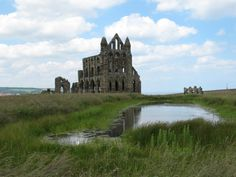 Whitby Abbey uk.  In 1890 the Irish Author Bram Stoker stayed in the Royal Hotel in Whitby and it is said that the churchyard and the town was his inspiration. The book was published in 1897 and Tate Hill beach is where the Russian boat Demeter runs a ground and Dracula in the form of a dog comes ashore.